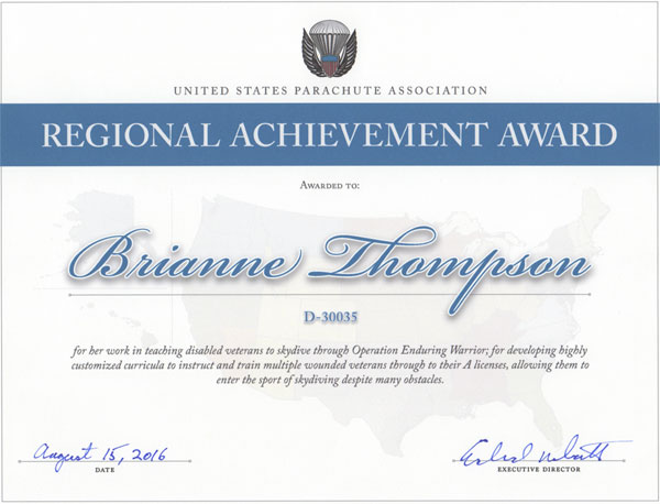 Regional Achievement Award 2015 to Brianne Thompson